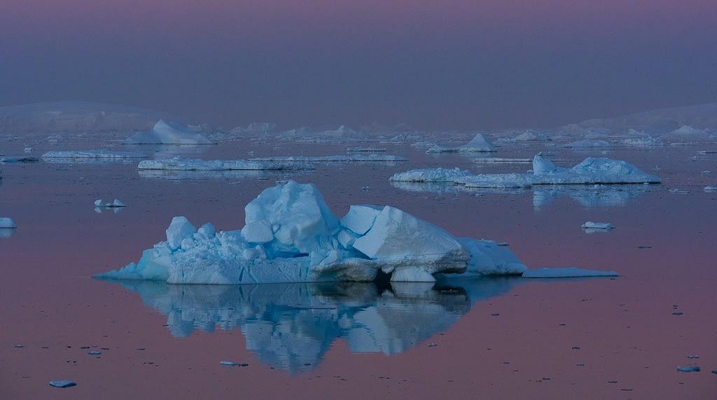 Alpenglow icebergs Antarctic Peninsula