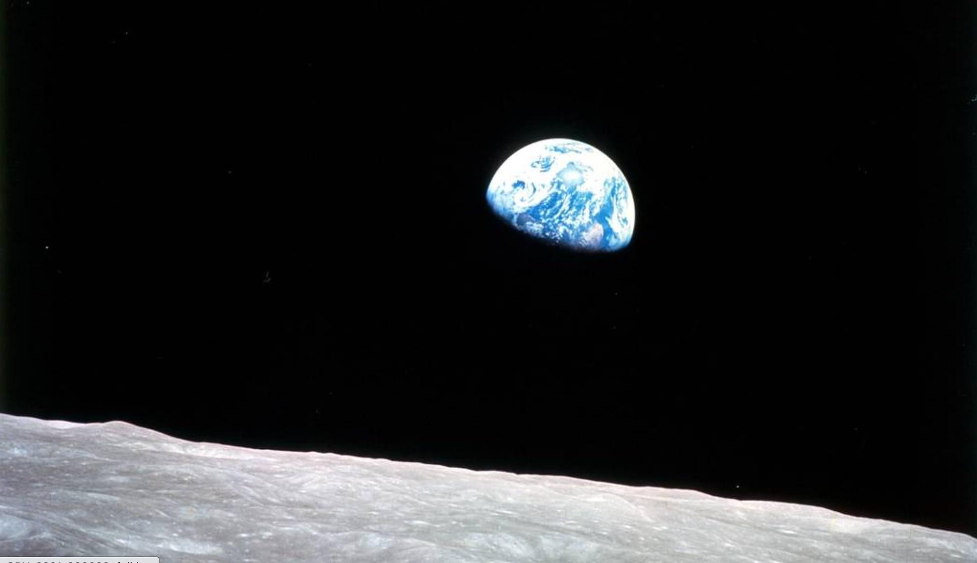 Apollo 8 photo from moon of EWarth