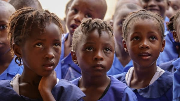African Schoolgirls Rapt in Attention